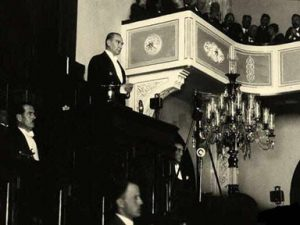 Ataturk Speaking in Parliament