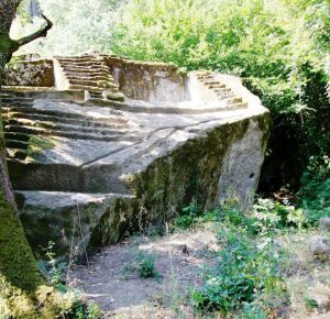 "Figure 3. Etruscan Pyramid-Altar at Bomarzo, Italia, from Tina Frigerio's Facebook photo album showing the Altar and the channels cut possibly for flow of ""blood"" from sacrificial animals."